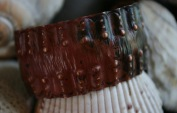 copper cuff with red and black patina